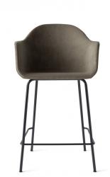 Menu HARBOUR Krzesło Barowe 102 cm Hoker Czarny - Siedzisko Tapicerowane Szarobeżowe