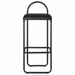 Aytm ANGUI Hoker - Krzesło Barowe 92,5 cm Czarne / Siedzisko Czarna Skóra
