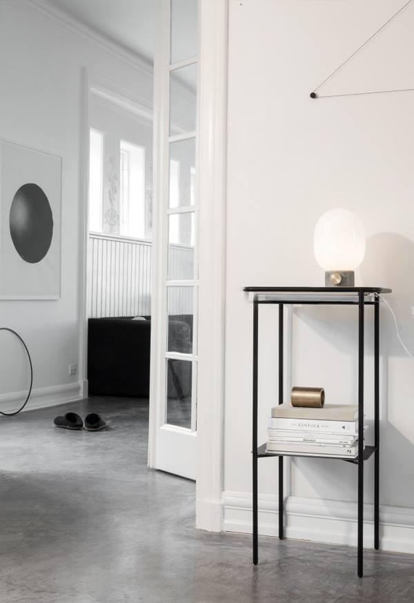 Menu JWDA Lampa Stołowa - Szary Beton/Szkło Mleczne