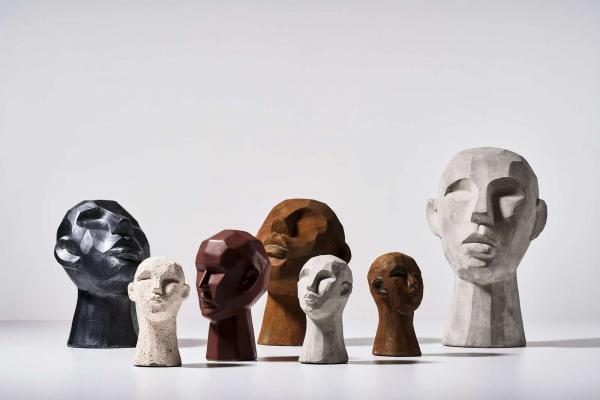 Villa Collection HOME Figura - Rzeźba Dekoracyjna 23 cm Głowa Szara