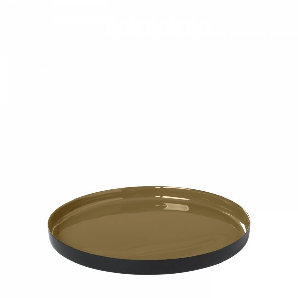 Blomus VISO Okrągła Taca Dekoracyjna 21 cm Dull Gold