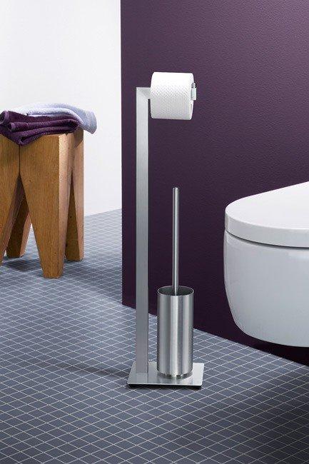 Zack LINEA Stojak na Papier Toaletowy i Szczotka WC - Stal Matowy