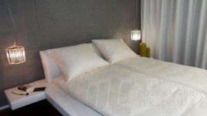 Poszewka hotelowa satynowa, paski 2cm, 150g/m2, 230TC, ECRU