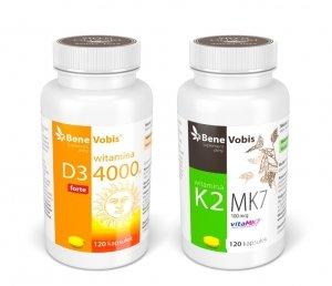 --- ZESTAW 1+1 --- Witamina D3 FORTE 4000IU + K2 MK7 (vitaMK7®) 100mcg - 2 x 120 kaps.