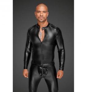 H052 Powerwetlook men's jacket with pleated PVC epaulets M