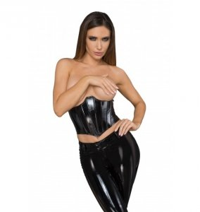F211 Lacquered eco leather corset wit fishbones L