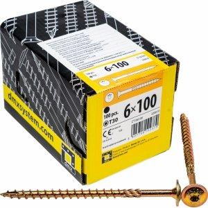 Wkręty ciesielskie talerzowe TX 6x100 drewna 100sz