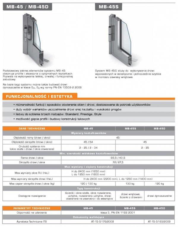 Drzwi aluminiowe 150x220 Aluprof MB45