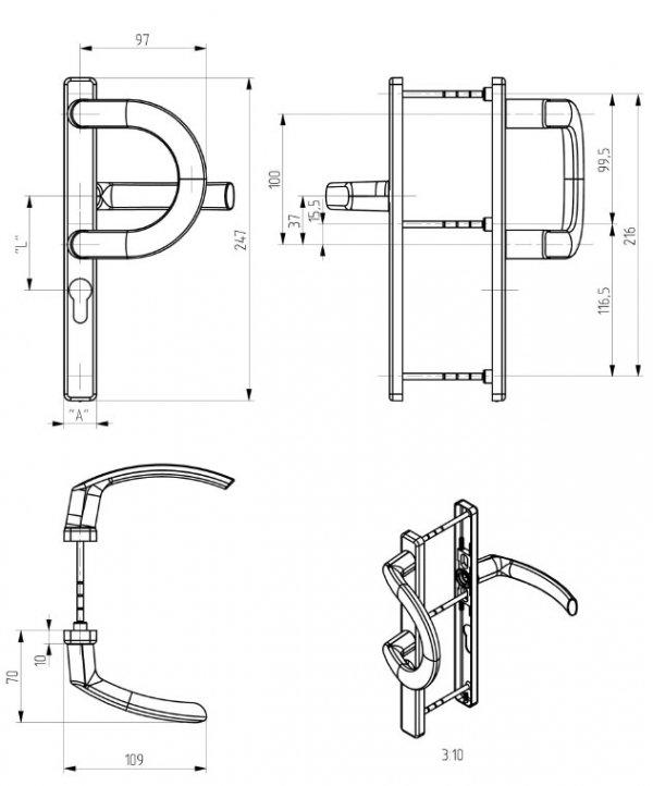 """Klamko-pochwyt """"P"""" Jowisz 32 P Brąz 8019 92mm"""