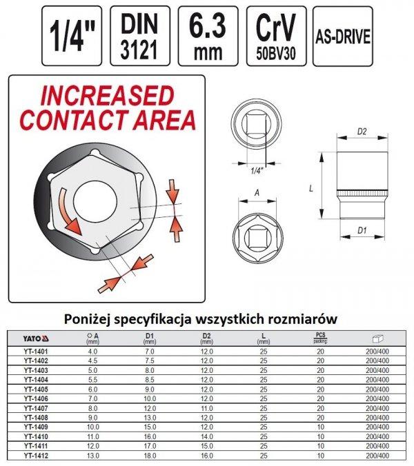 Nasadka Sześciokątna krótka 1/4-10mm YATO 1409 CRV