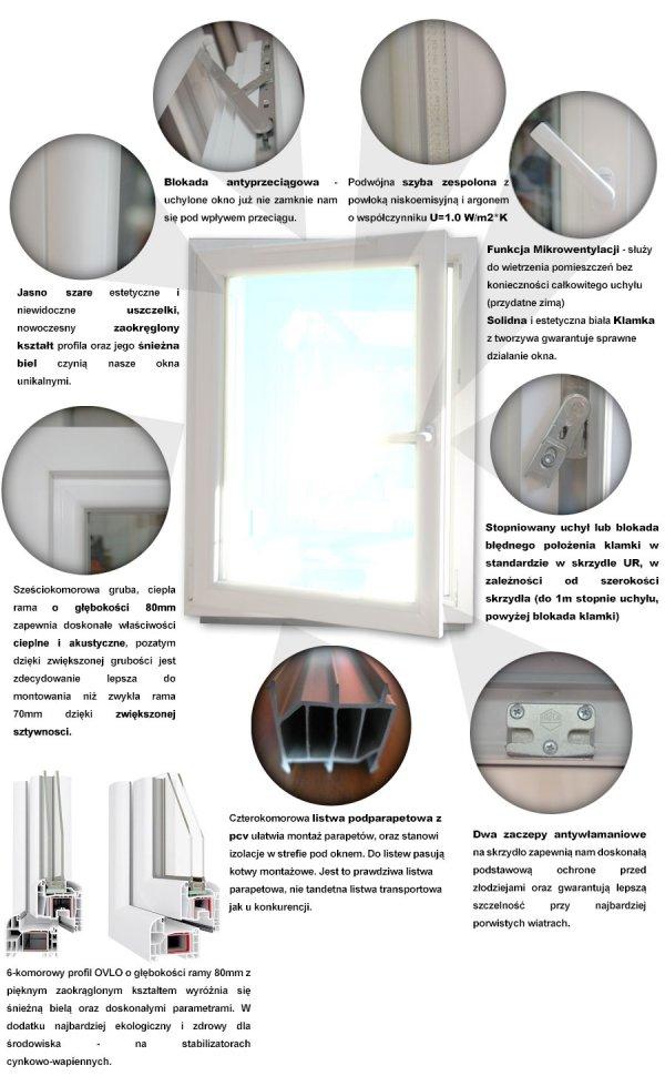 Okno PCV 865x1435 uchylno-rozwierne lewe białe