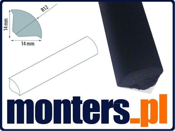 Ćwierćwałek listwa do okien 14x14mm czarny 02 2,5m