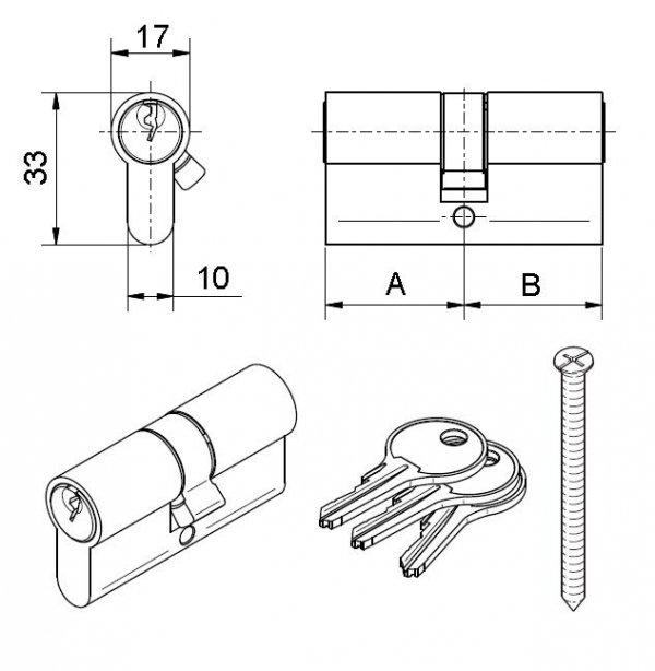 Wkładka bębenkowa do zamka drzw Medos 35/40 nikiel