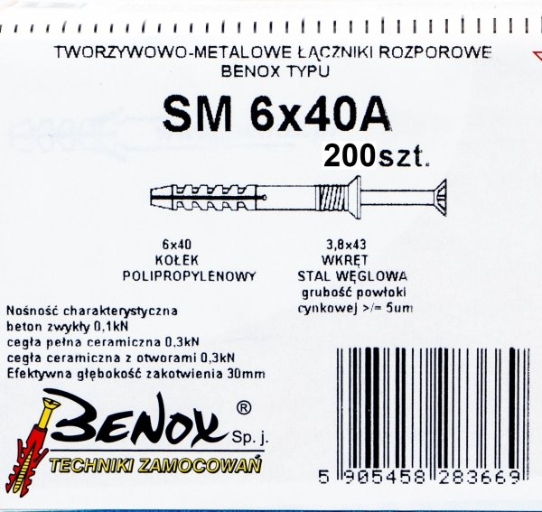 Kołki rozporowe 6x40 A szybkiego montażu 200szt.
