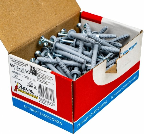 Kołki rozporowe 6x60 AG szybkiego montażu 200szt