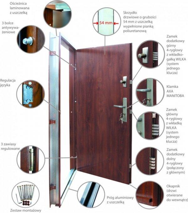 Drzwi wejściowe zewnętrzne Wikęd Premium wzór 26e