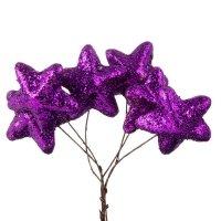 Gwiazdki Brokatowe Ciemny Fiolet [Komplet - 10 Pęczków]