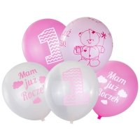 Balony Na Roczek Różowe [Komplet - 5 opakowań]