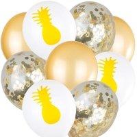 Balony z Konfetti Ananas [Komplet - 5 zestawów]