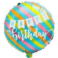 Balon Foliowy Kolorowe Paski Happy Birthday [Komplet - 4 sztuki]