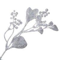 Gałązka Jemioła Brokatowa Srebro [Komplet 5 sztuk] 602923