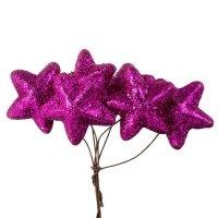 Gwiazdki Brokatowe Amarant [Komplet - 10 Pęczków]
