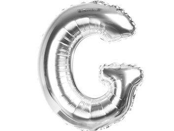 Balony Foliowe Literka G Srebrna 40cm - [ Komplet - 20 sztuk]