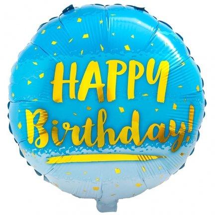 Balon Foliowy Niebieskie Happy Birthday [Komplet - 2 sztuki]
