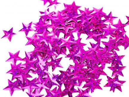 Cekiny Gwiazdki Duże 15mm Róż - [ Komplet - 20 sztuk]