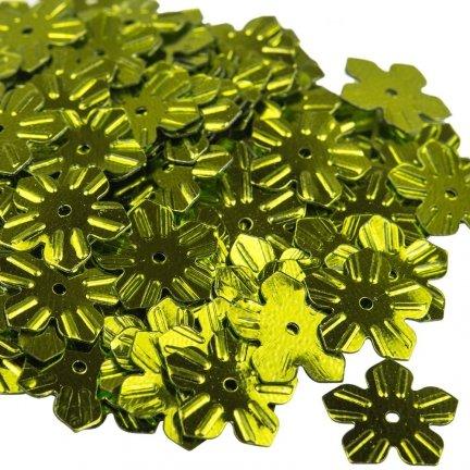 Cekiny Kwiatki Nacinane Zielone - [ Komplet - 20 sztuk]