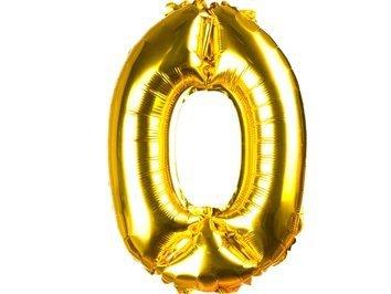 Balony Foliowe Cyferka 0 Złota 40cm - [ Komplet - 20 sztuk]