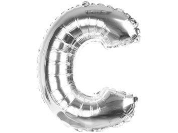 Balony Foliowe Literka C Srebrna 40cm - [ Komplet - 20 sztuk]