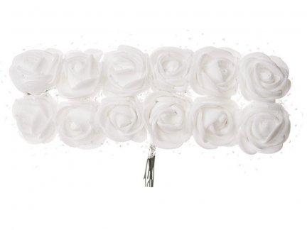Różyczki z Pianki Na Druciku Białe [Zestaw - 5 kompletów po 144 szt]