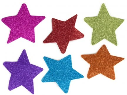 Naklejki Gwiazdki Brokatowe Duże [Komplet - 10 sztuk]