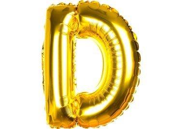 Balony Foliowe Literka D Złota 40cm - [ Komplet - 20 sztuk]