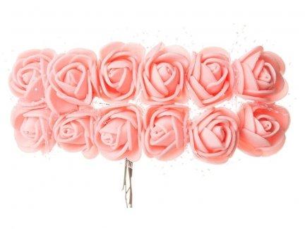 Różyczki z Pianki Na Druciku Łosoś [Zestaw - 5 kompletów po 144 szt]