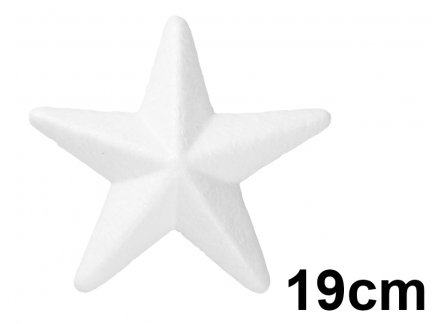 Gwiazda Styropianowa 3D Duża 19cm  [Komplet - 25 sztuk]