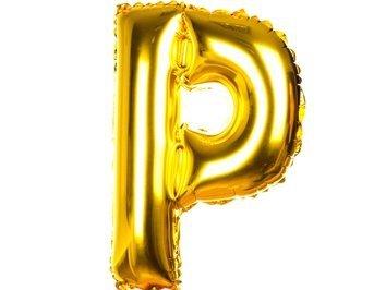 Balony Foliowe Literka P Złota 40cm - [ Komplet - 20 sztuk]