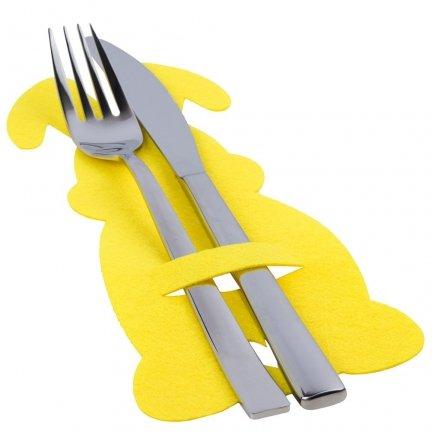 Pokrowiec Na Sztućce Z Filcu 6szt Zając Żółty [ Komplet 5 Zestawów ]