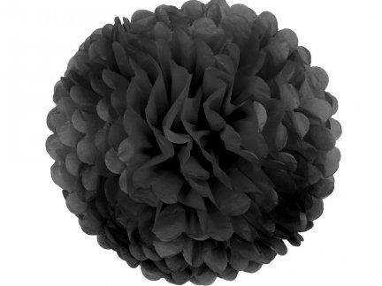 Pompony Papierowe Czarne 25cm Małe [Komplet - 20 Sztuk]