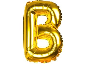 Balony Foliowe Literka B Złota 40cm - [ Komplet - 20 sztuk]
