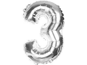 Balony Foliowe Cyferka 3 Srebrna 100cm - [ Komplet - 10 sztu]