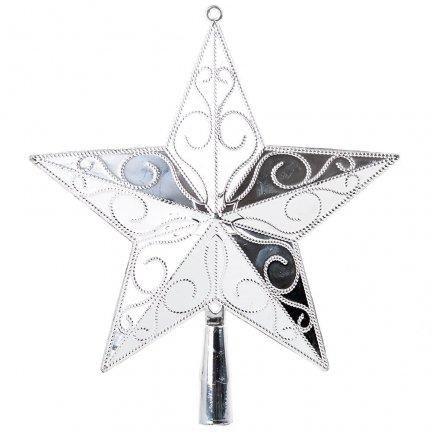 Gwiazda Srebrna Pełna Czubek Dekor Mały [Komplet - 5 sztuk]