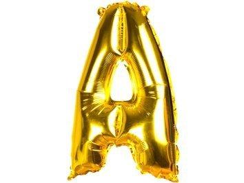 Balony Foliowe Literka A Złota 40cm - [ Komplet - 20 sztuk]
