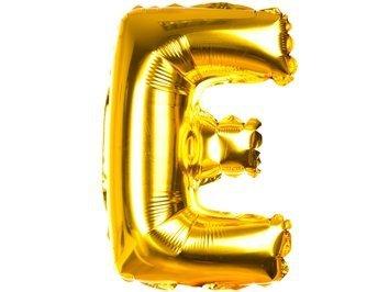 Balony Foliowe Literka E Złota 40cm - [ Komplet - 20 sztuk]