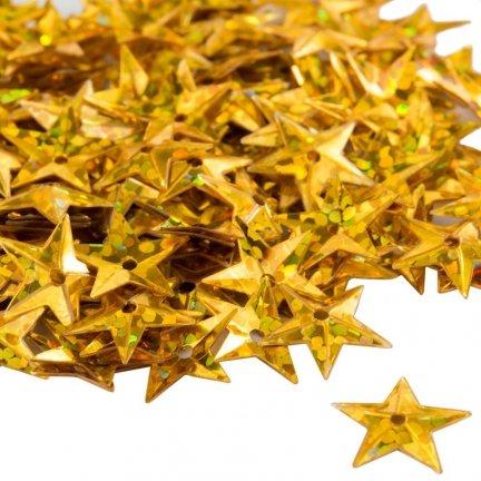 Cekiny Gwiazdki Małe 10mm Złoto Mieniące Ciemne - [ Komplet - 20 sztuk]
