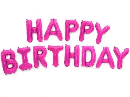 Balon Foliowy Happy Birthday Amarant [ Komplet - 5 szt]
