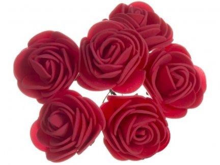 Różyczki z Pianki Czerwień 6szt [Komplet 12 pęczków]
