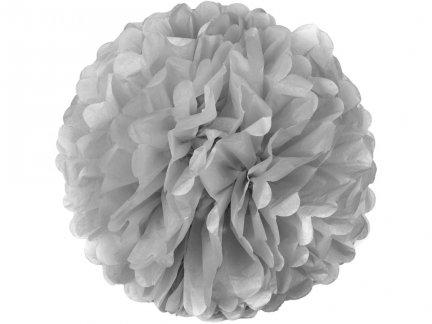 Pompony Papierowe Srebrne 35cm Duże [Komplet - 20 Sztuk]