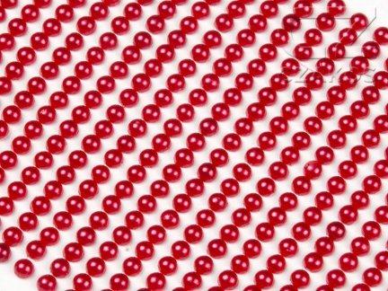 Perełki samoprzylepne 4mm Czerwony [10 Blistrów]